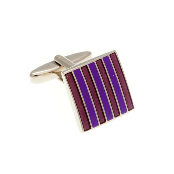 Classic Striped Purple and Lilac Enamel Square Cufflinks by Elizabeth Parker England