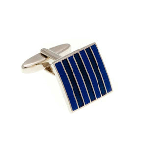 Classic Striped Blue and Sky Blue Square Enamel Cufflinks by Elizabeth Parker England