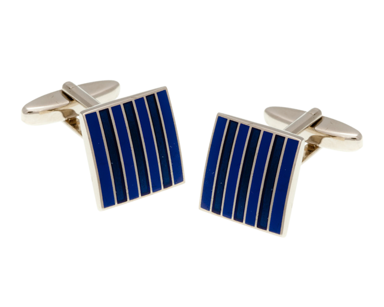 Classic Stripe Blue and Sky Blue Square Cufflinks