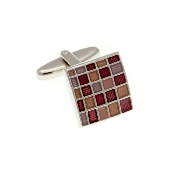 Blush Multi Square Enamel Cufflinks by Elizabeth Parker England