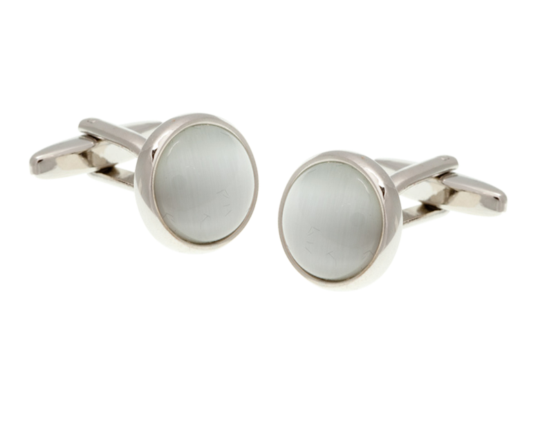 Cat's Eye White Cufflinks