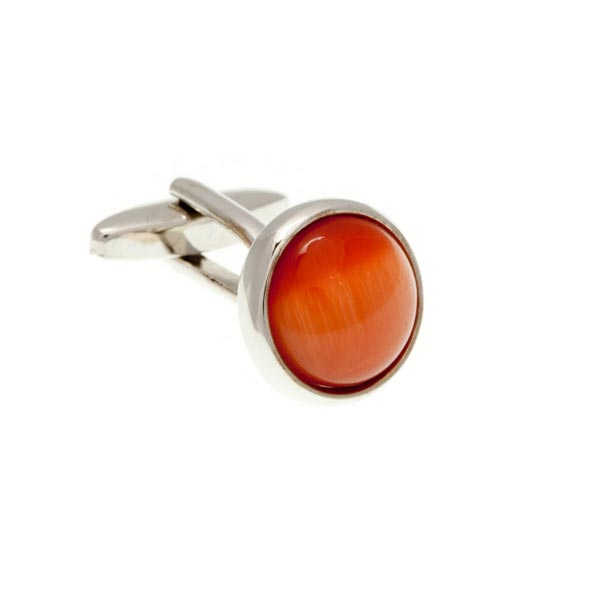Round Cat's Eye Orange Cufflinks by Elizabeth Parker England