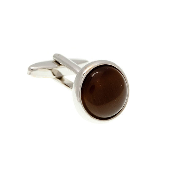 Round Cat's Eye Brown Cufflinks by Elizabeth Parker England
