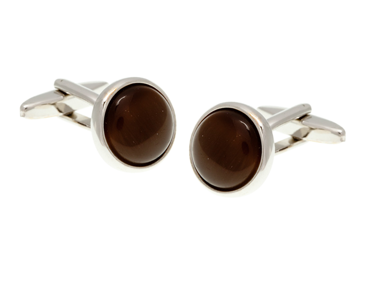 Round Cat's Eye Brown Cufflinks