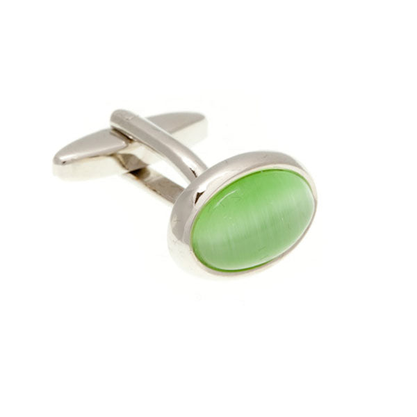 Oval Cat's Eye Green Cufflinks by Elizabeth Parker England