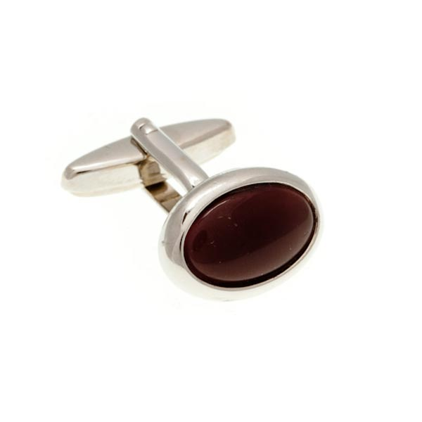 Oval Cat's Eye Purple Cufflinks by Elizabeth Parker