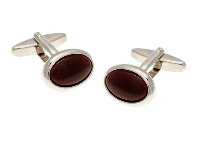Oval Cat's Eye Purple Cufflinks