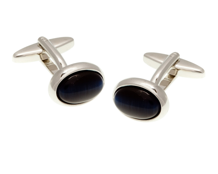 Oval Cat's Eye Navy Blue Cufflinks