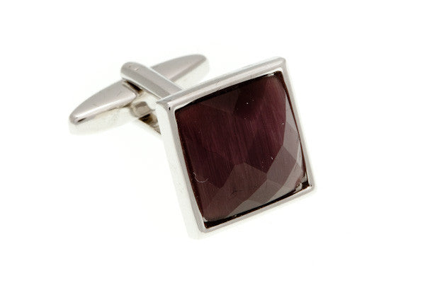 Square Cat's Eye Multi-faceted Purple Cufflinks - by Elizabeth Parker England