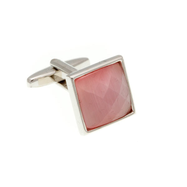 Square Cat's Eye Multi-faceted Pink Cufflinks by Elizabeth Parker