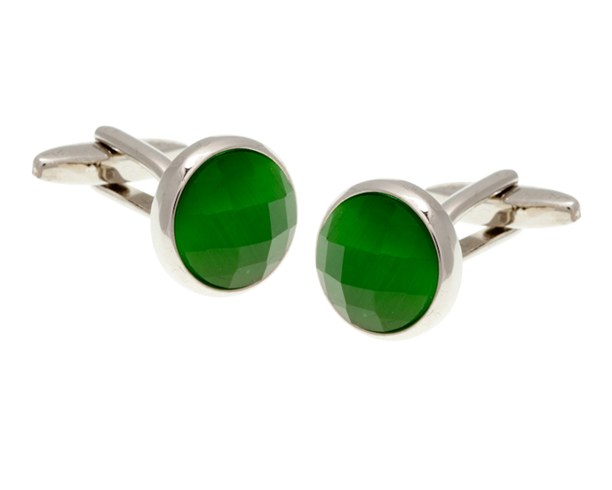 Cat's Eye Multi-faceted Emerald Green Cufflinks