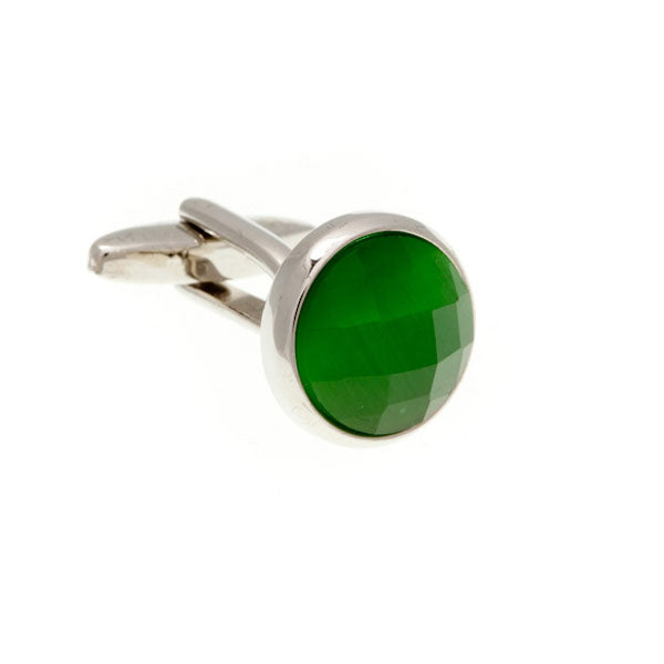 Round Cat's Eye Faceted Emerald Green Cufflinks by Elizabeth Parker England