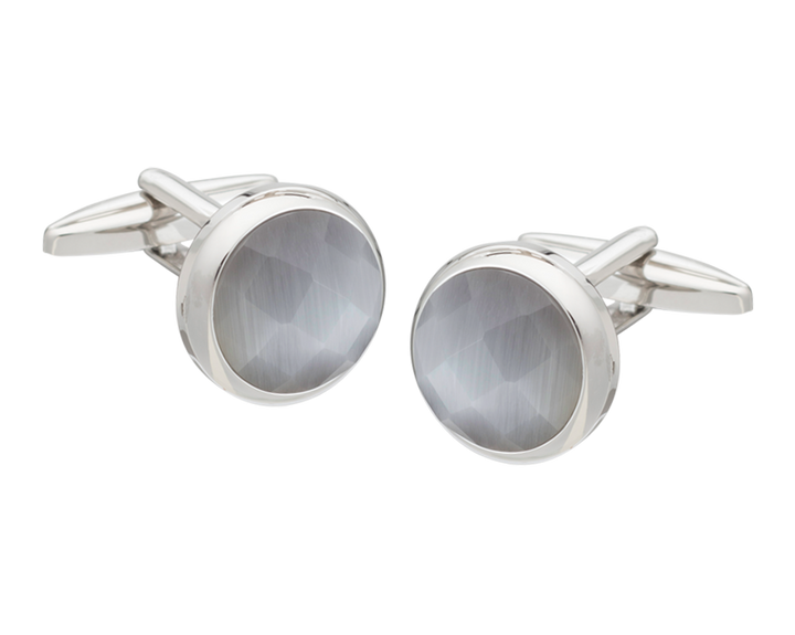 Cats Eye Multi-faceted Light Grey Cufflinks