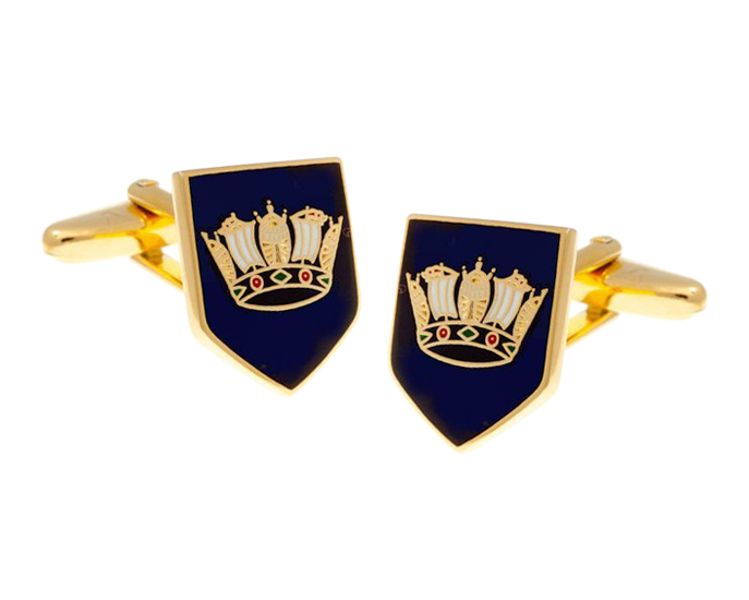 Naval Blue Military Styled Shield Cufflinks