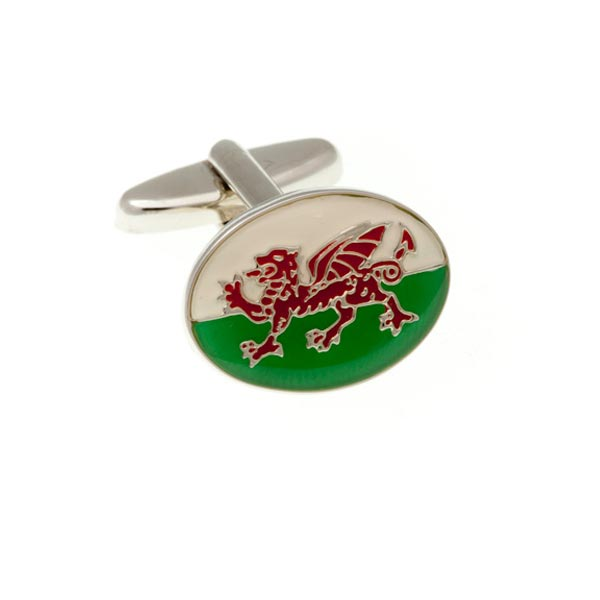 Wales Welsh Flag White Green Red Dragon Patriotic Enamel Cufflinks by Elizabeth Parker England
