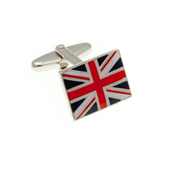 Red White and Blue Union Jack Enamel Cufflinks by Elizabeth Parker England