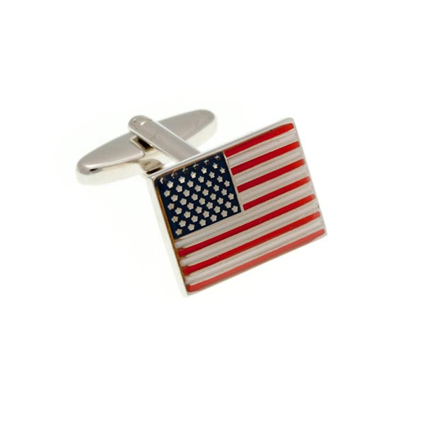 American Flag USA Stars and Stripes Red White Blue Enamel Cufflinks by Elizabeth Parker