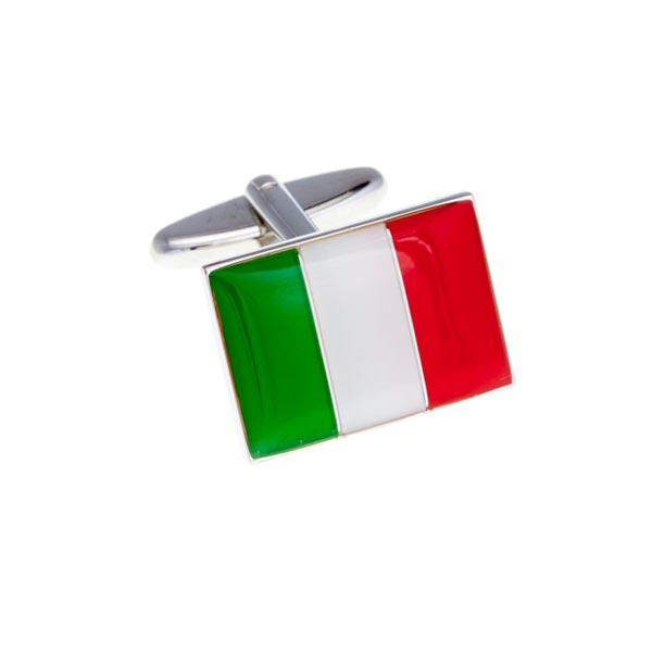 Italian Flag Italy Green White Red Patriotic Enamel Cufflinks by Elizabeth Parker England