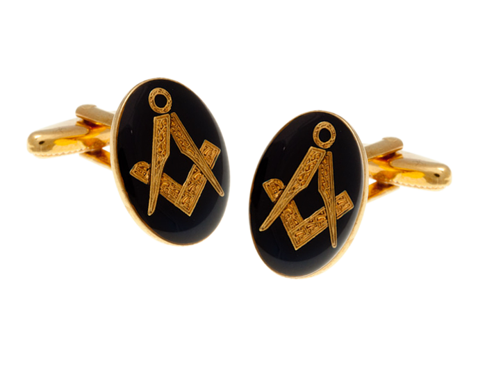 Navy Blue Masonic Oval Cufflinks