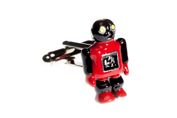Enamel Red Robot Novelty Cufflinks - by Elizabeth Parker England