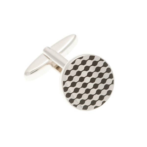Chessboard Simply Metal and Black Enamel Round Cufflinks by Elizabeth Parker England