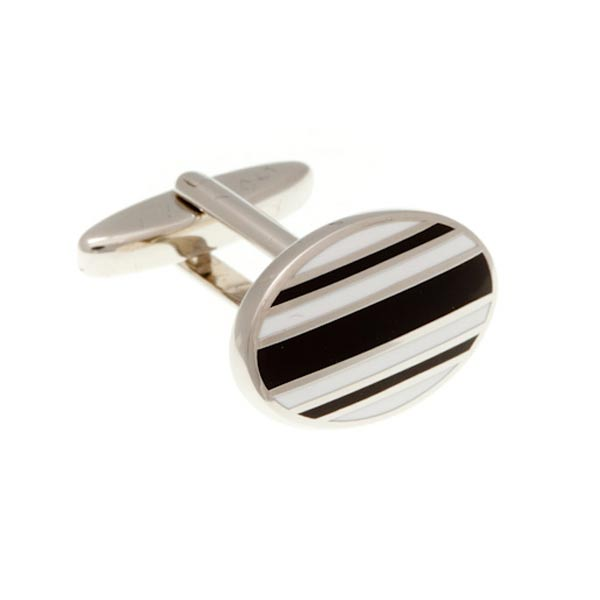 Gentlemen's Striped Black  and White Enamel Oval Cufflinks by Elizabeth Parker