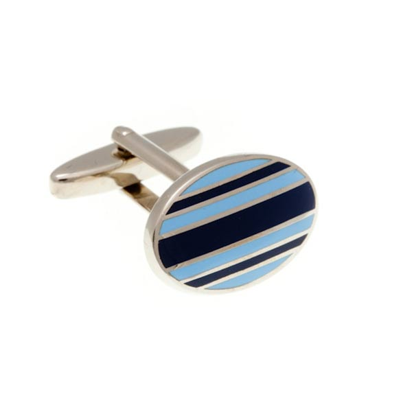 Gentlemen's Stripe Navy Blue and Light Blue Enamel Oval Cufflinks by Elizabeth Parker