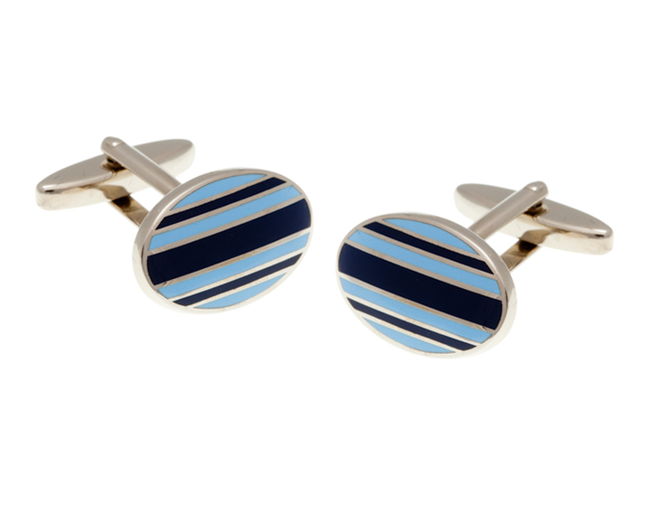 Gentlemen's Stripe Navy Blue and Light Blue Oval Cufflinks