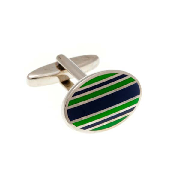 Navy Blue & Racing Green Striped Enamel Oval Cufflinks by Elizabeth Parker