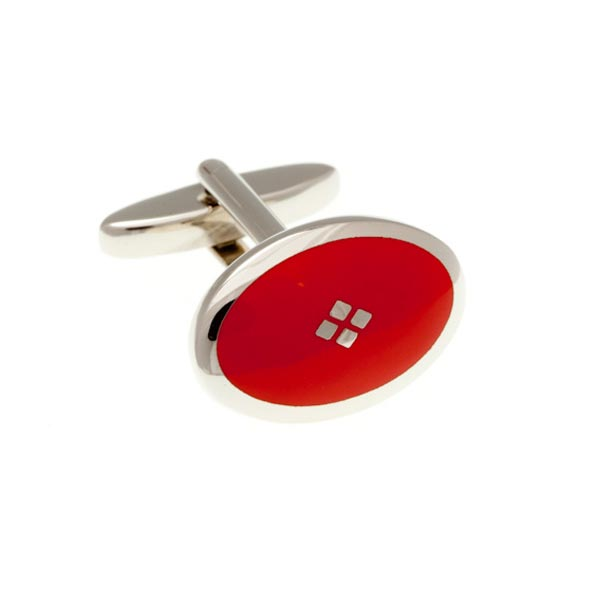 Vintage Diamond Red Plain Metal Enamel Cufflinks by Elizabeth Parker England