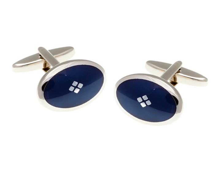 Vintage Diamond Navy Blue Cufflinks