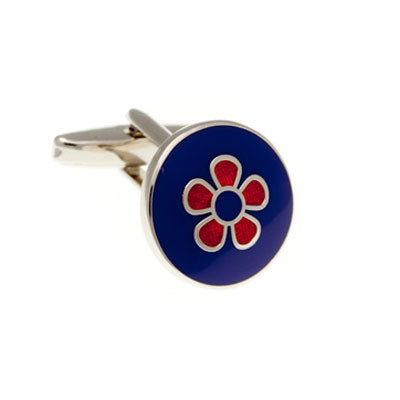 Signature Flower Blue & Red Plain Metal Enamel Cufflinks - by Elizabeth Parker England