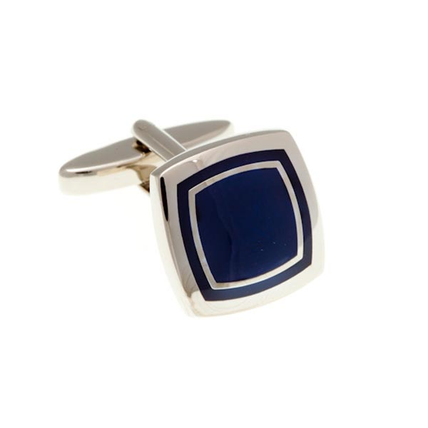 Navy Blue Enamel Soft Square Cufflinks by Elizabeth Parker England