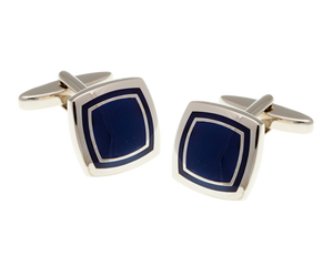 Soft Sided Square Navy Blue Cufflink and Silk Pocket Square Gift Set