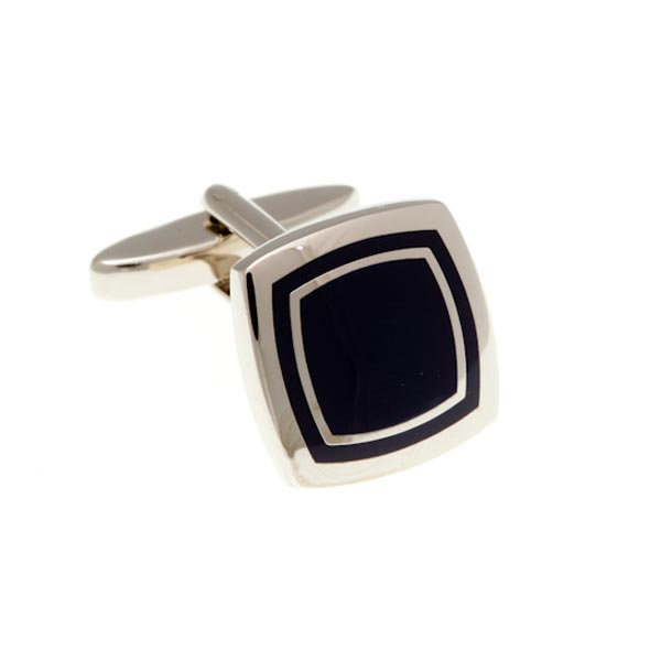 Black Enamel Soft Square Cufflinks by Elizabeth Parker