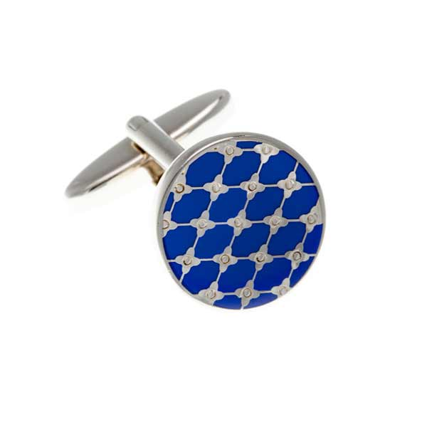 Blue Enamel Trellis Patterned Round cufflinks by Elizabeth Parker