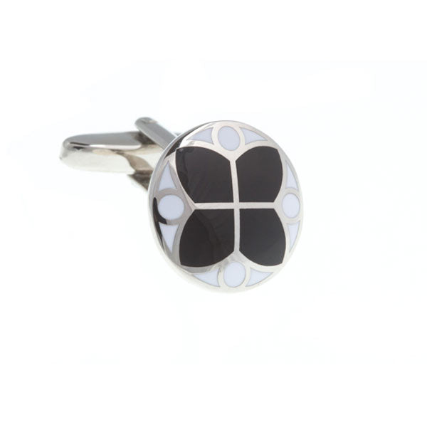 Round Black and White Stained Glass Styled Flower Enamel Cufflinks by Elizabeth Parker England
