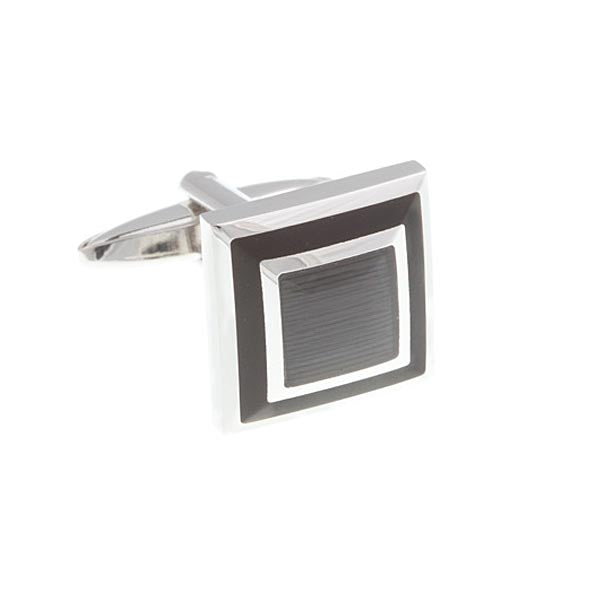 Black Square Border Cufflinks by Elizabeth Parker England