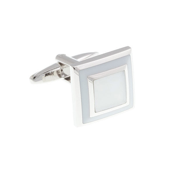 White Square Border Cufflinks by Elizabeth Parker England