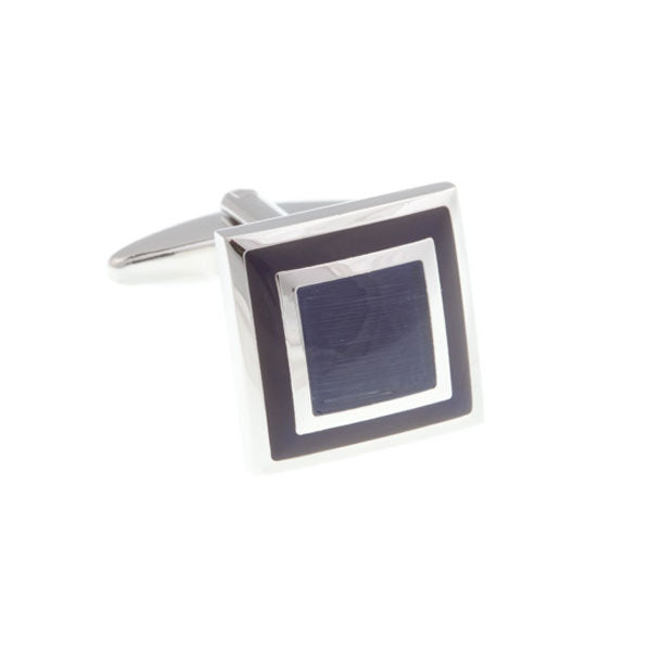 Blue Square Border Cufflinks by Elizabeth Parker England