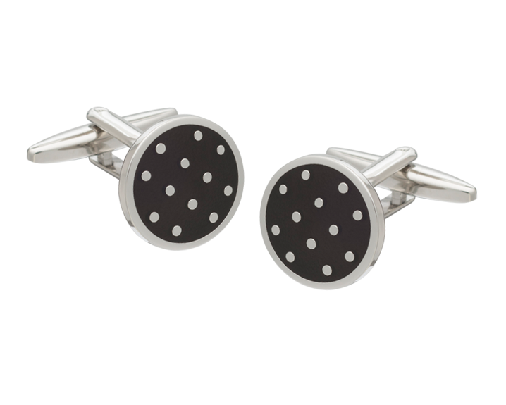 Black Polka Dot Cufflinks