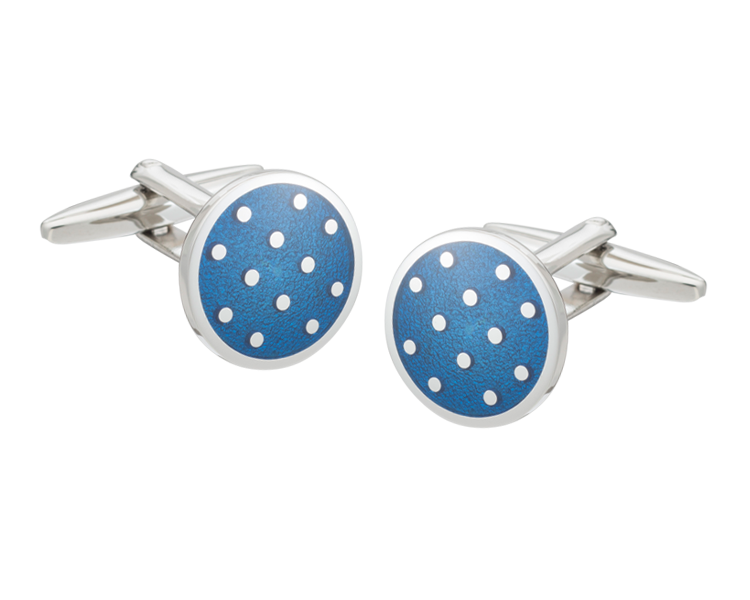 Blue Round Polka Dot Cufflinks