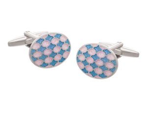Harlequin Pink and Blue Oval Cufflinks