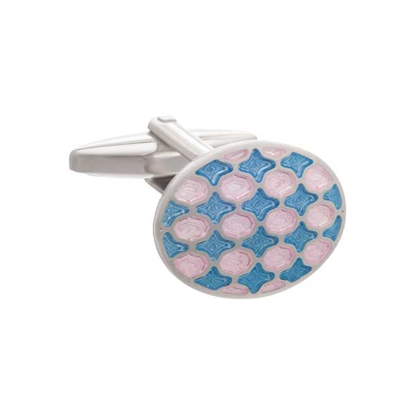 Pink and Blue Enamel Harlequin Patterned Oval Cufflinks by Elizabeth Parker