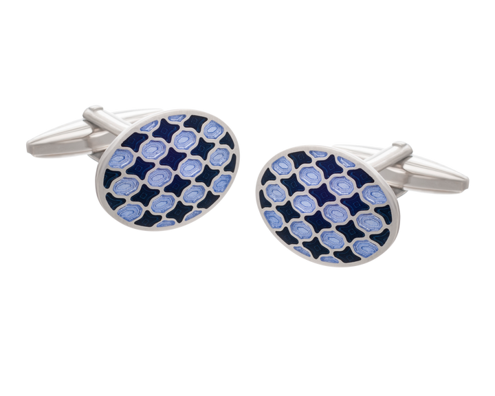 Harlequin Navy and Purple Oval Cufflinks