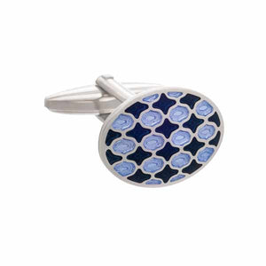 Navy and Purple Harlequin Patterned Oval Enamel Cufflinks by Elizabeth Parker