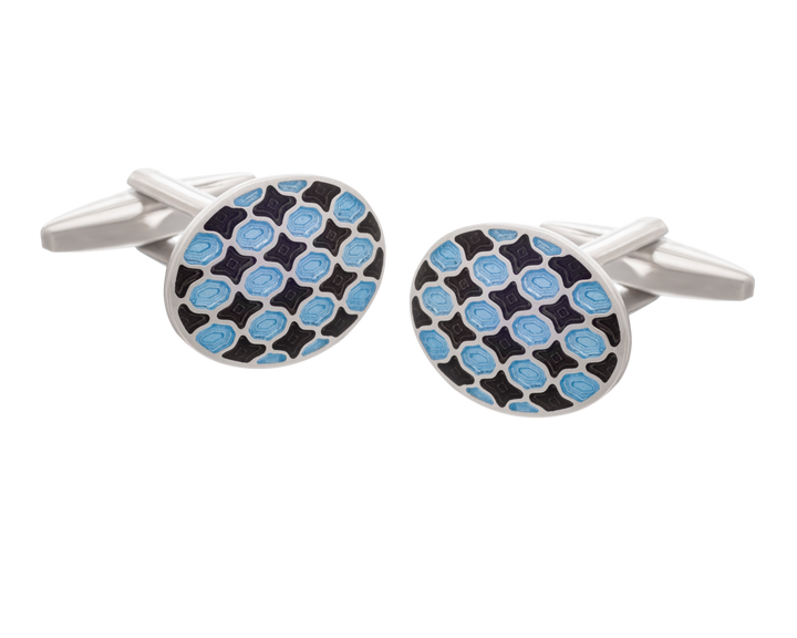 Harlequin Black and Blue  Oval Cufflinks