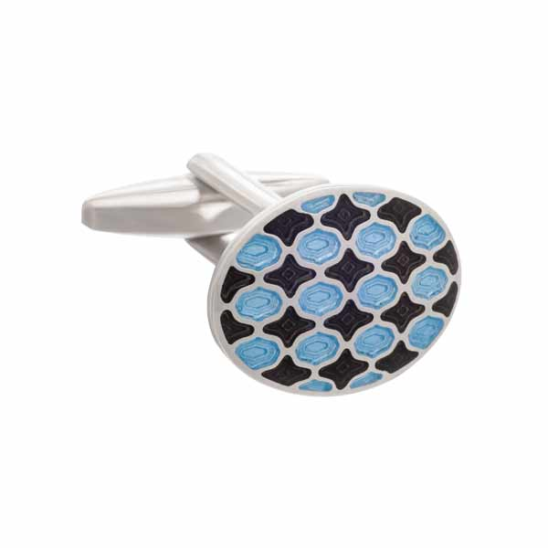 Black and Blue Enamel Harlequin Patterned Oval Cufflinks by Elizabeth Parker