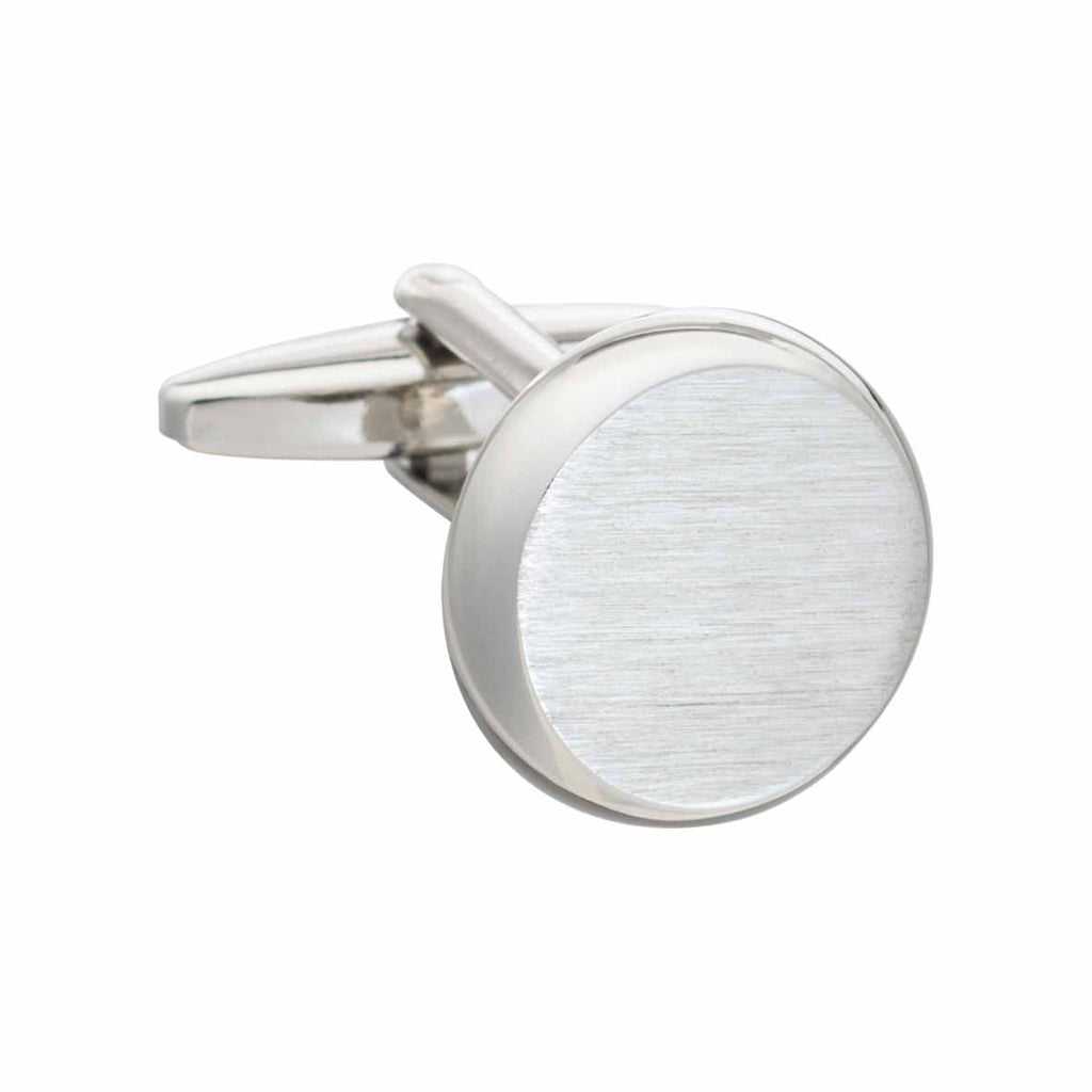 Smooth 'O' Shaped Cufflinks with Brushed Metal Finish by Elizabeth Parker