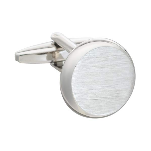 Simply Brushed Metal Smooth 'O' Round Luxury Cufflinks by Elizabeth Parker